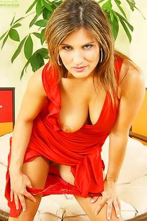 Valentina Rush: Red dress brunette in black heels shows off her MILF body for you